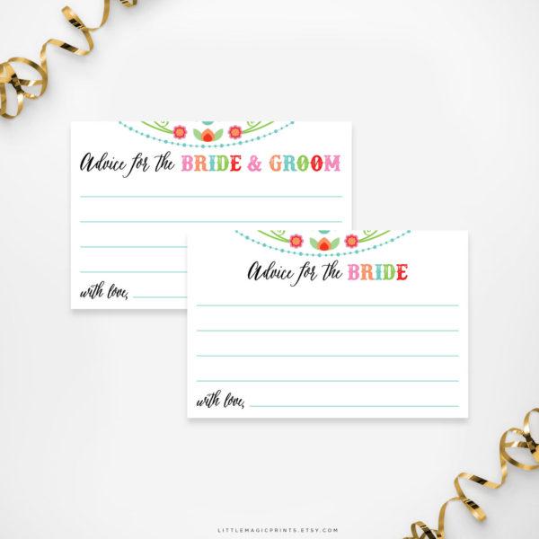 Printable Fiesta Bridal Shower Advice Cards