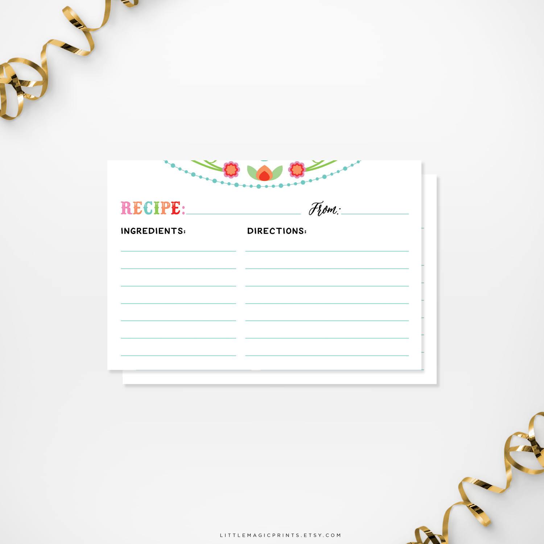 Printable Fiesta Bridal Shower Recipe Cards