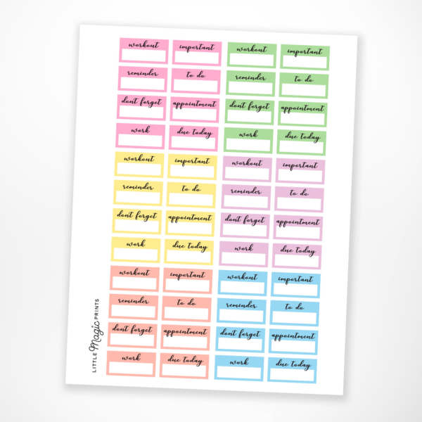 graphic relating to Free Printable Functional Planner Stickers named Printable Pastel Useful Planner Stickers Very little Magic