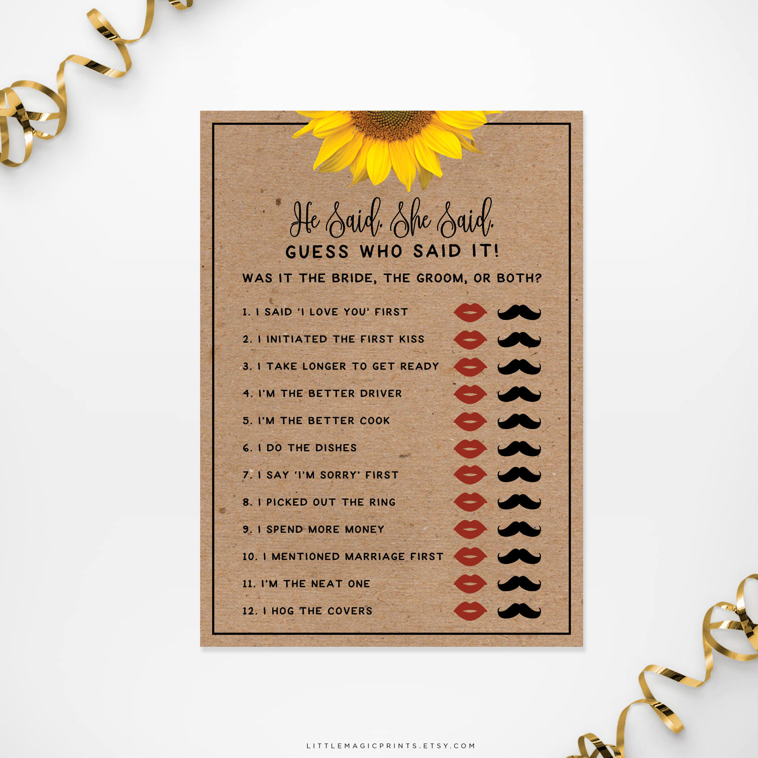 printable sunflower bridal shower he said she said game card